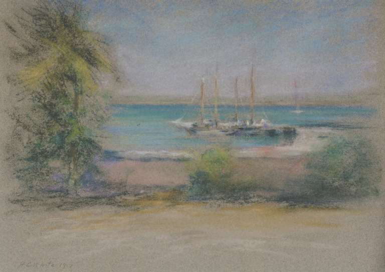 Nassau, 1917, pastel on grey paper, 91/4 x 121/2 in. signed
