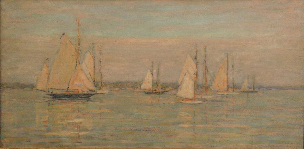 New London Harbor 11 x 22 in. oil