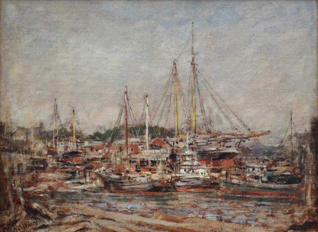 The Shipyard 9 x 12 in. oil 1924