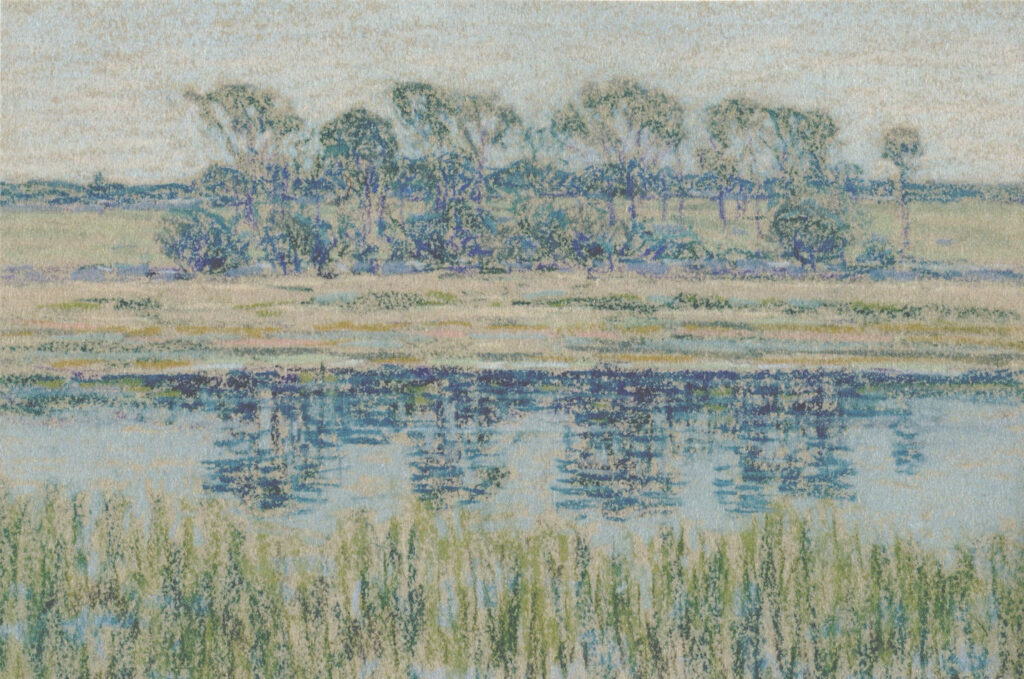Tidal Marsh with Copse pastel 9 ⅞ x 14 ⅜ in. 1895