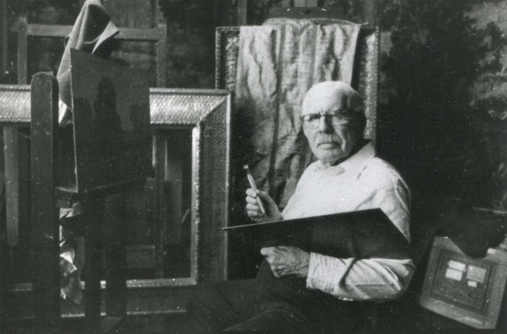 Nelson C. White in his studio