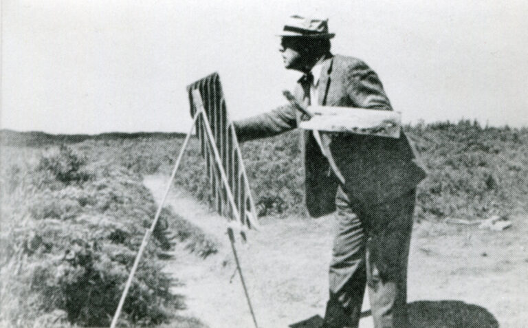 Nelson C. White painting at Block Island cliffs.
